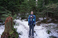 Small patch of snow on the trail to Bald Mountain