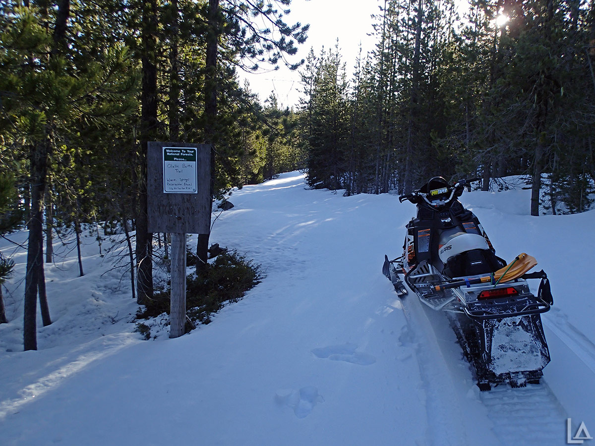 Snowmobiling to the Olallie Butte trailhead
