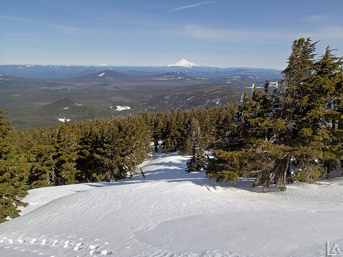 Looking down Olallie Butte North towards Mt Hood