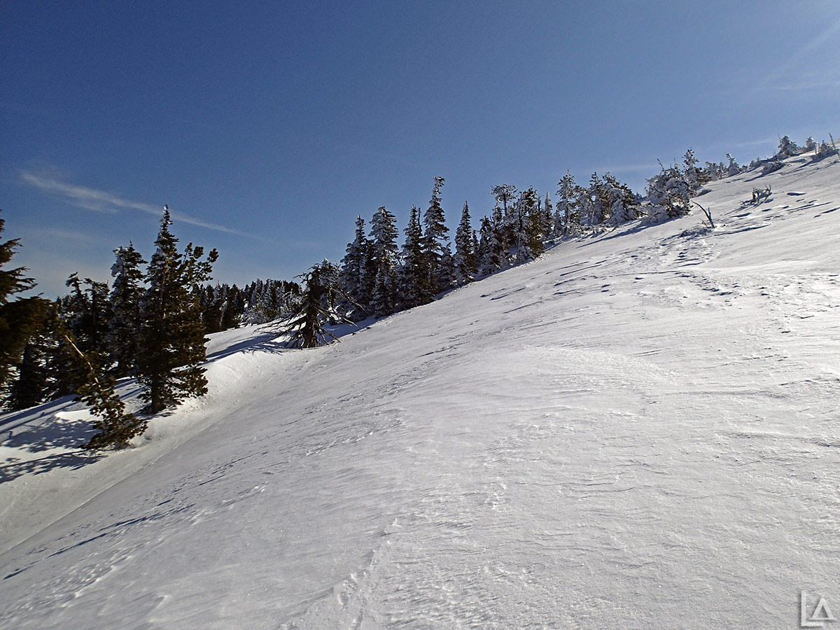 Icy slope on Olallie Butte