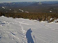 Looking down Olallie Butte at my footprints