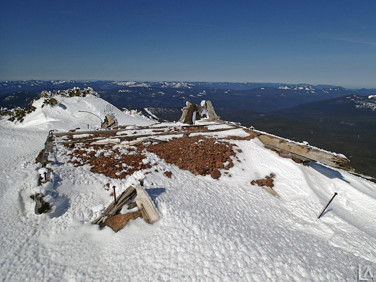 Remnants of old fire lookout tower on summit of Olallie Butte