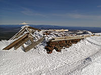 Old fire lookout tower with Mt Hood in the background