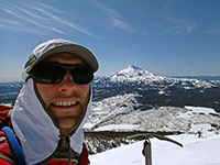 Selfie on summit of Olallie Butte with Mt Jefferson in the background