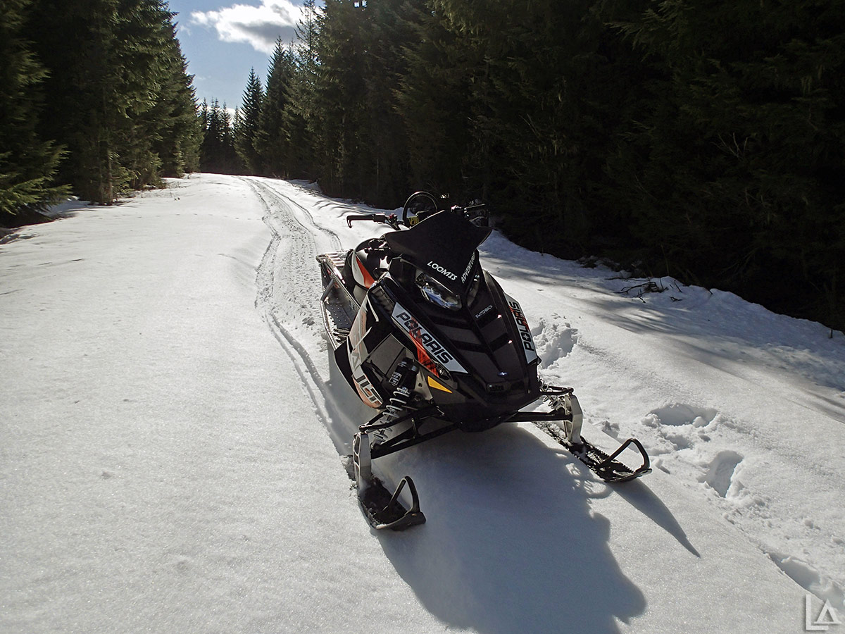 My 2013 Polaris 800 Switchback Assault snowmobile on the way to Olallie Lake