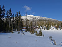 Olallie Lake Resort with Olallie Butte in the background