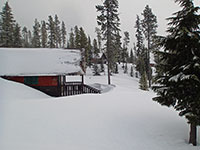 Olallie Lake Resort covered in snow