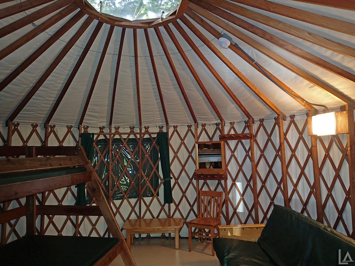 Inside our yurt at Devil's Lake State Park