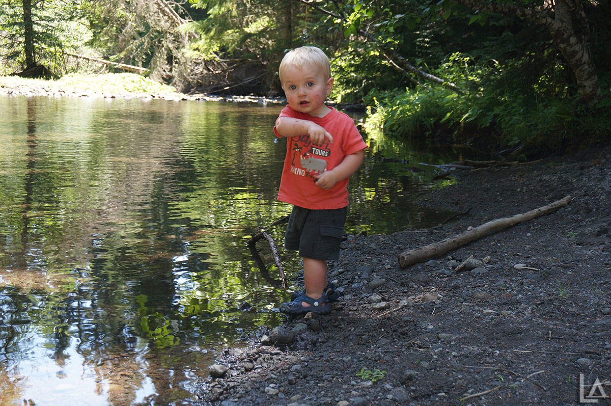 Our Mini-Adventurer playing in Barlow Creek