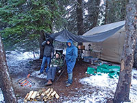 Snow camping with Kyle, Matt, and Shane near Lookout Mountain