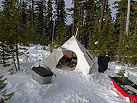 Snow camping in comfort near Frog Lake Buttes