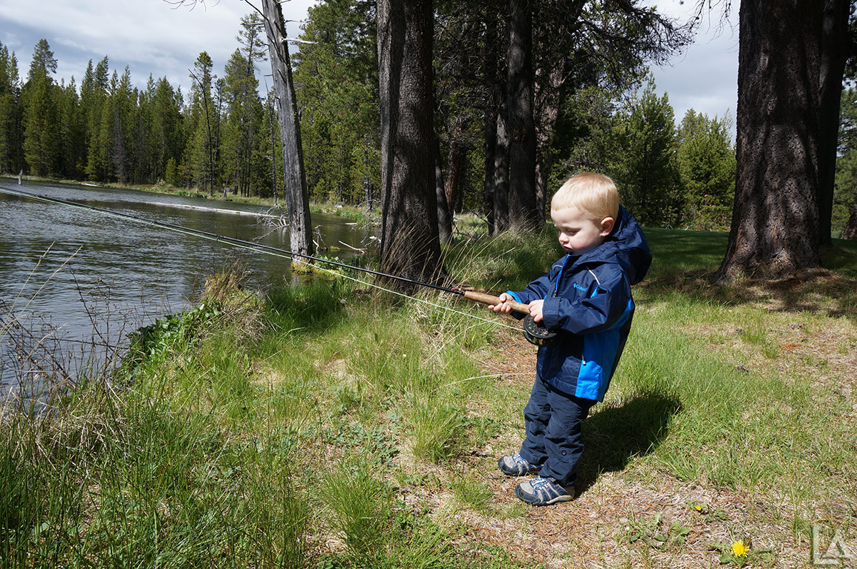 Mini Adventurer trying his hand at flyfishing