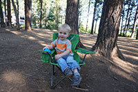 Julian relaxing in his very own camp chair (thanks Grandma and Grandpa)