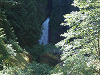Wahclella Falls and bridge from a distance
