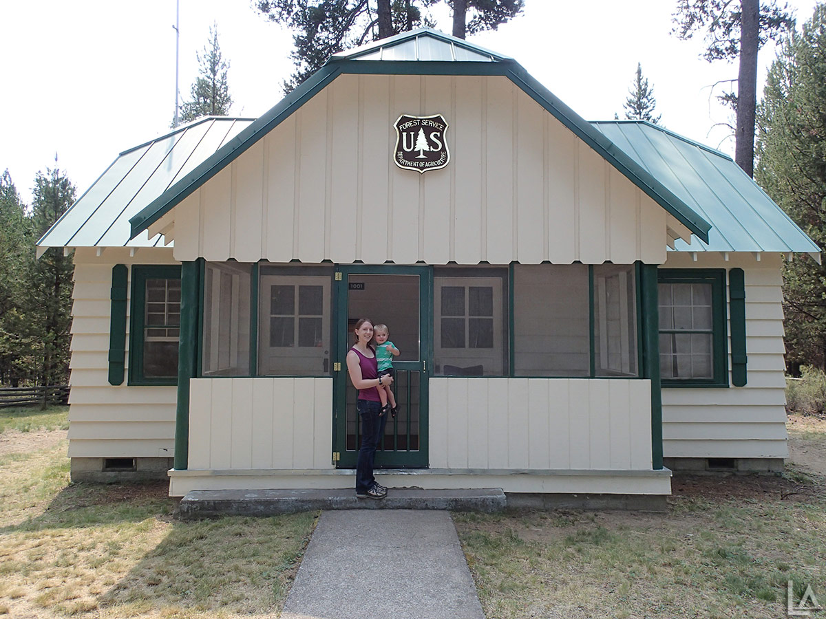 Katie and Julian in front of the Fall River Guard Station