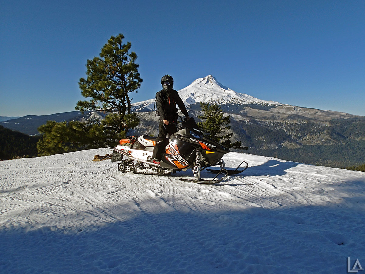 2013 Polaris 800 Switchback Assault with Mt Hood in the background