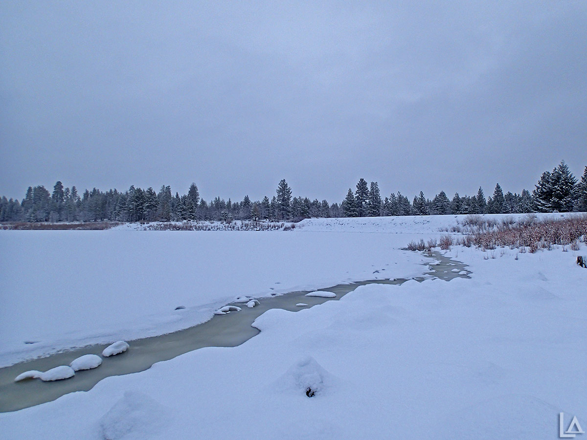 Rock Creek Reservoir covered in snow