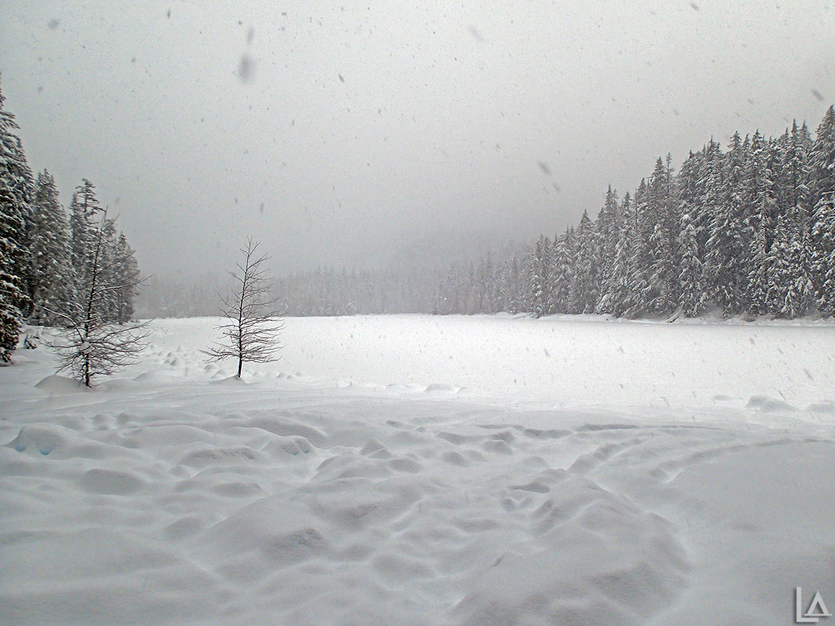 Frog Lake covered in snow
