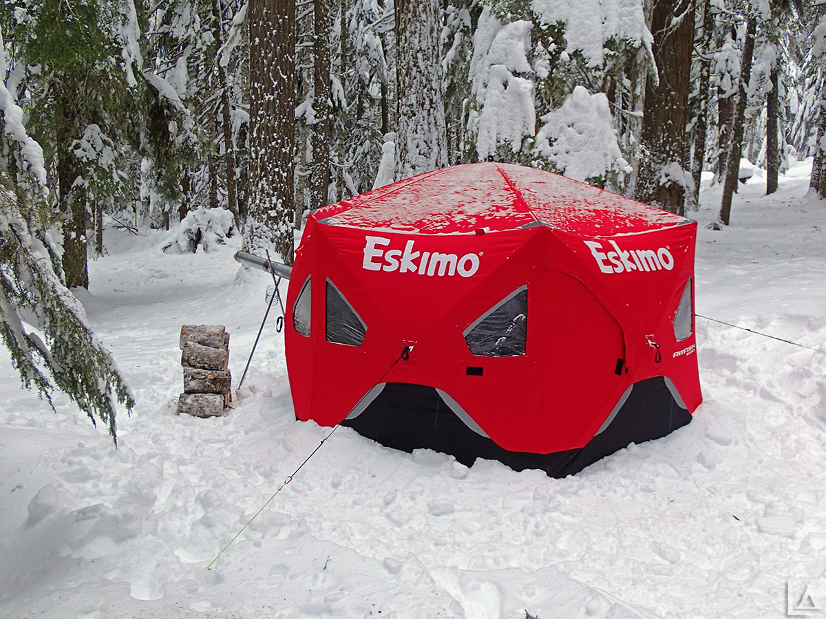 Eskimo FatFish 6120I pop up shelter setup for snow camping