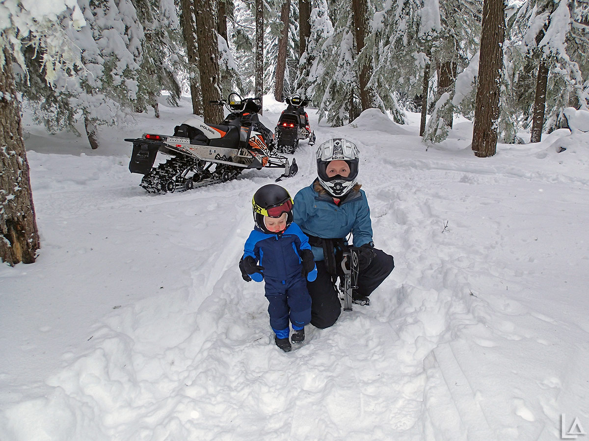 Julian and Katie after snowmobiling to our snow camp