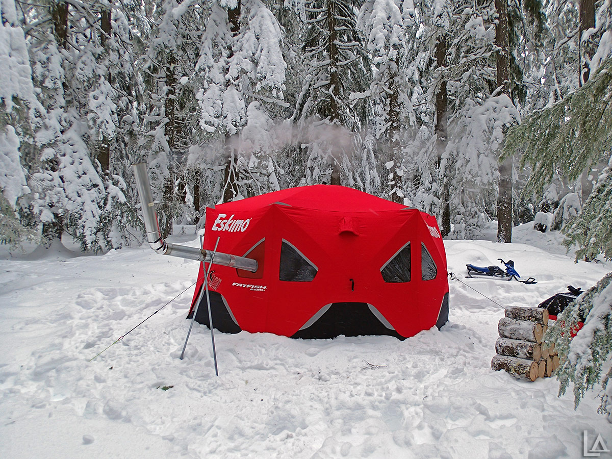 Eskimo FatFish 6120I being used as a hot tent with a Four Dog wood stove