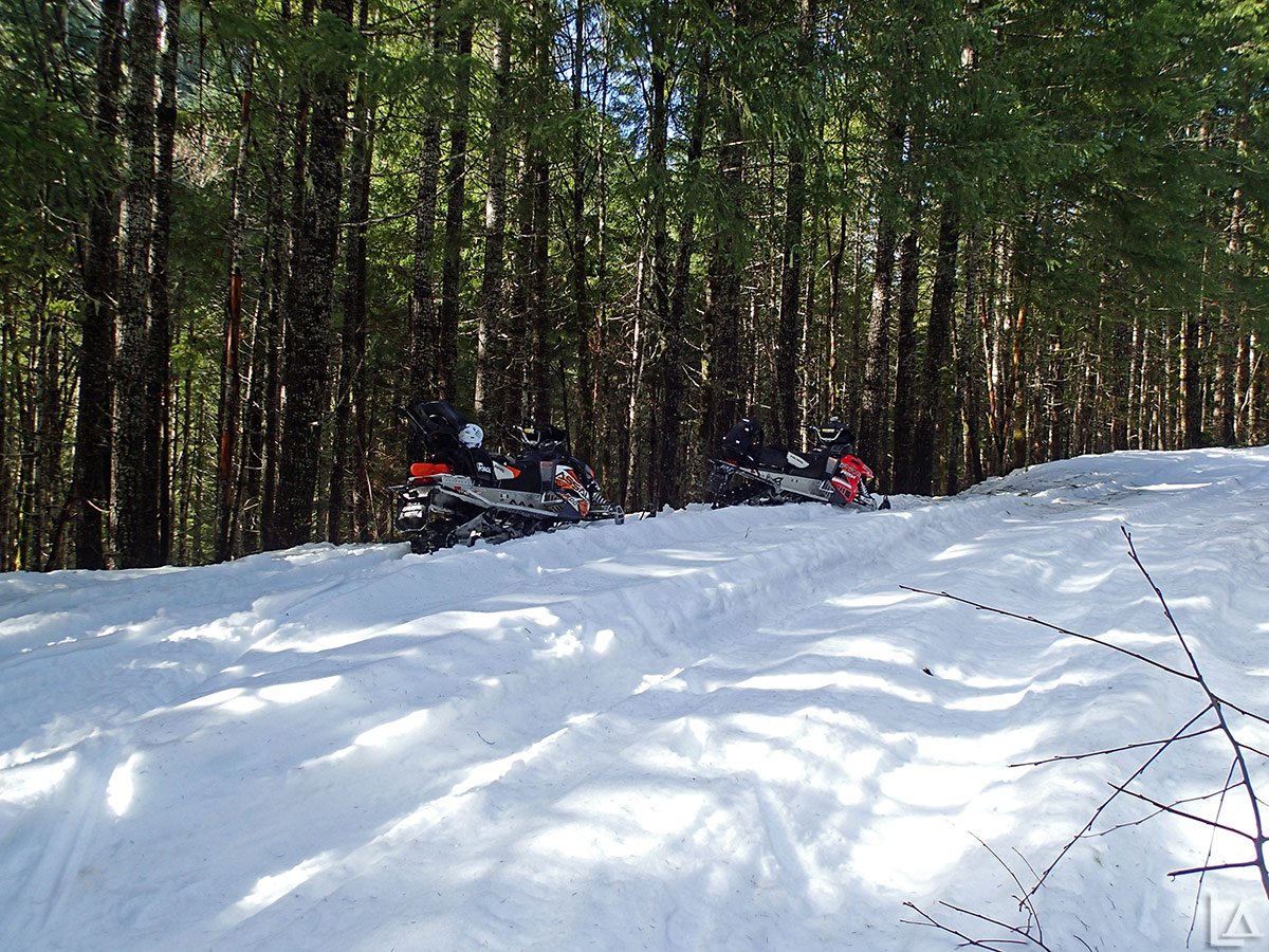 Snowmobiling on road 4697 towards Elk Lake