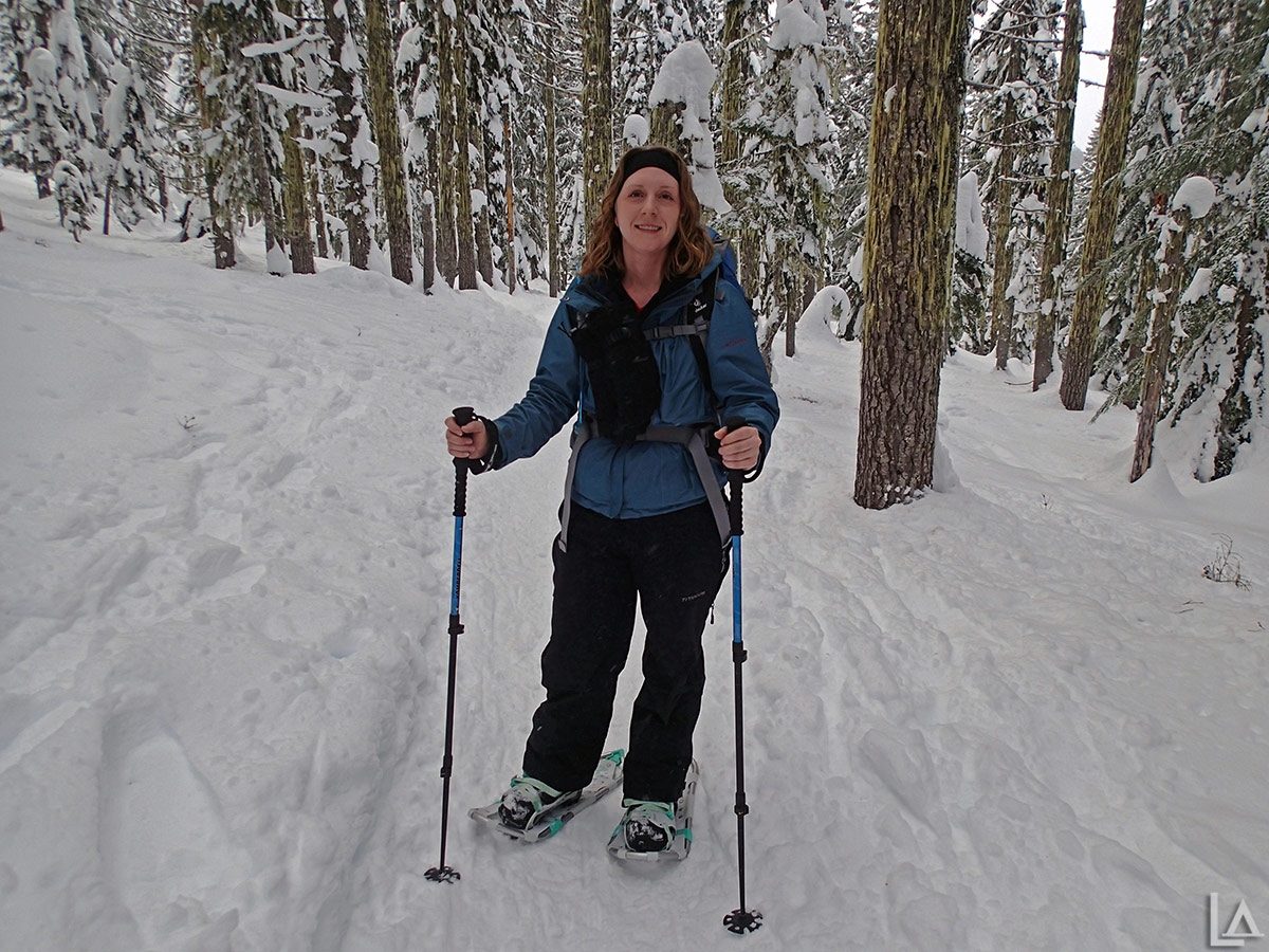 Katie enjoying our snowshoe trip to Twin Lakes