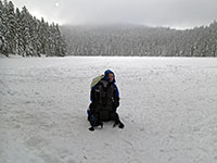 Julian at frozen lower Twin Lake
