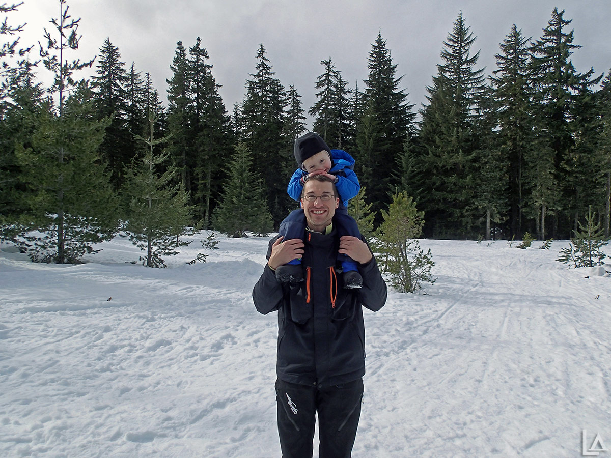Our Mini Adventurer on my shoulders