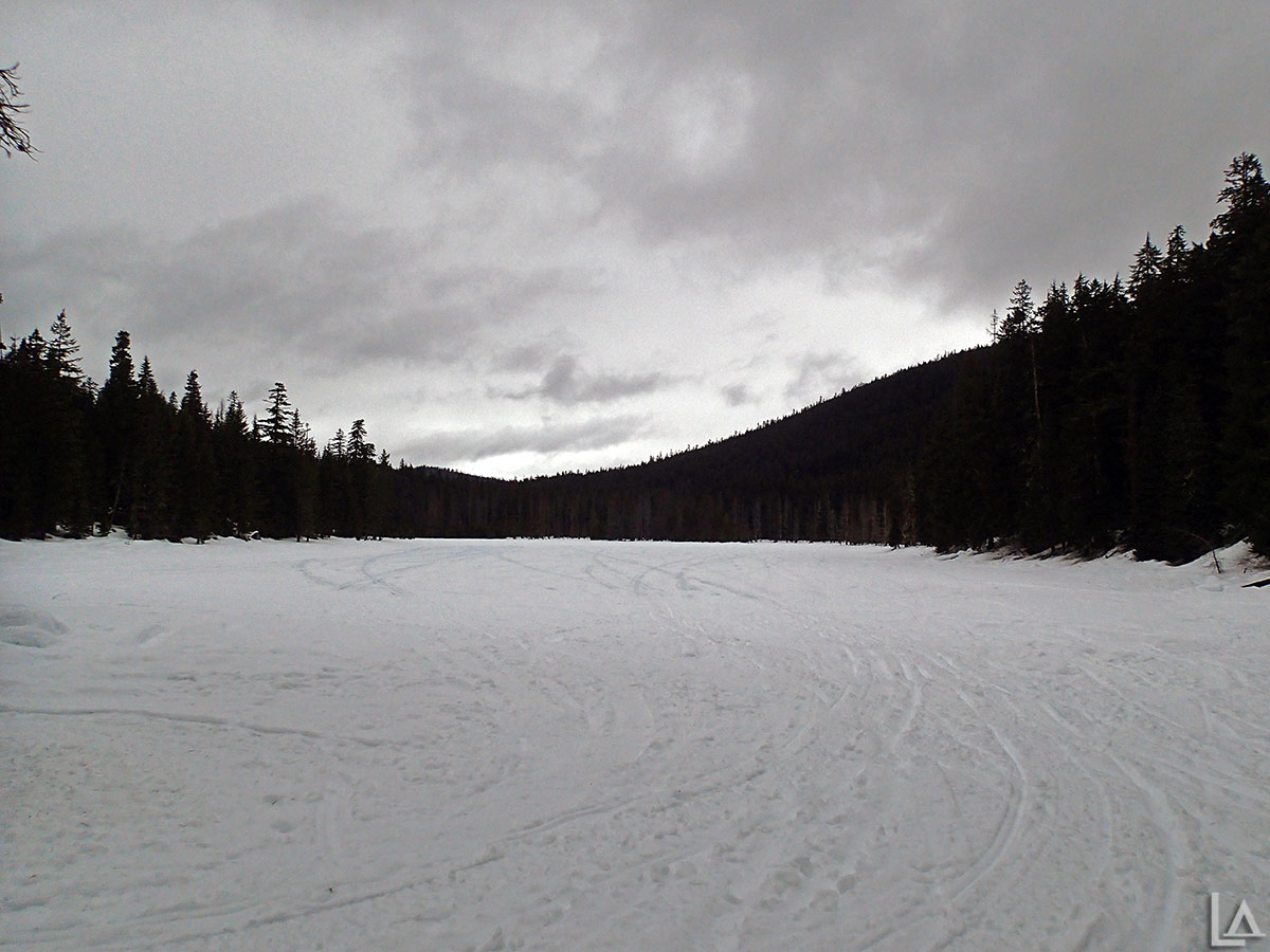 Snowmobiling across Frog Lake