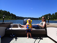 Mini Adventurer and Katie shad fishing on the Willamette River