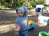 Our Mini-Adventurer playing in the dirt at Bonney Crossing campground