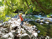 Julian throwing rocks into Badger Creek