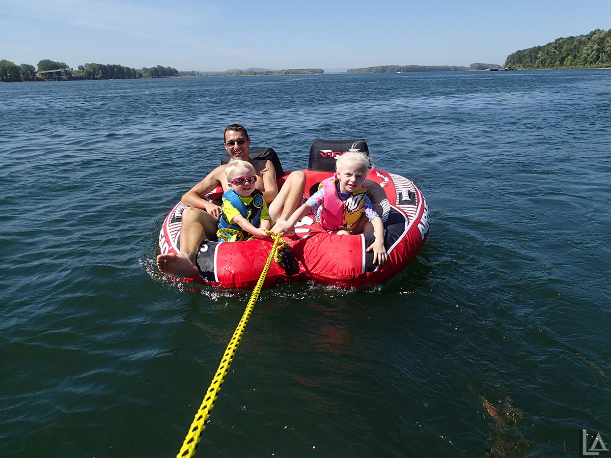 Julian, Brooklyn, and I in the inner-tube
