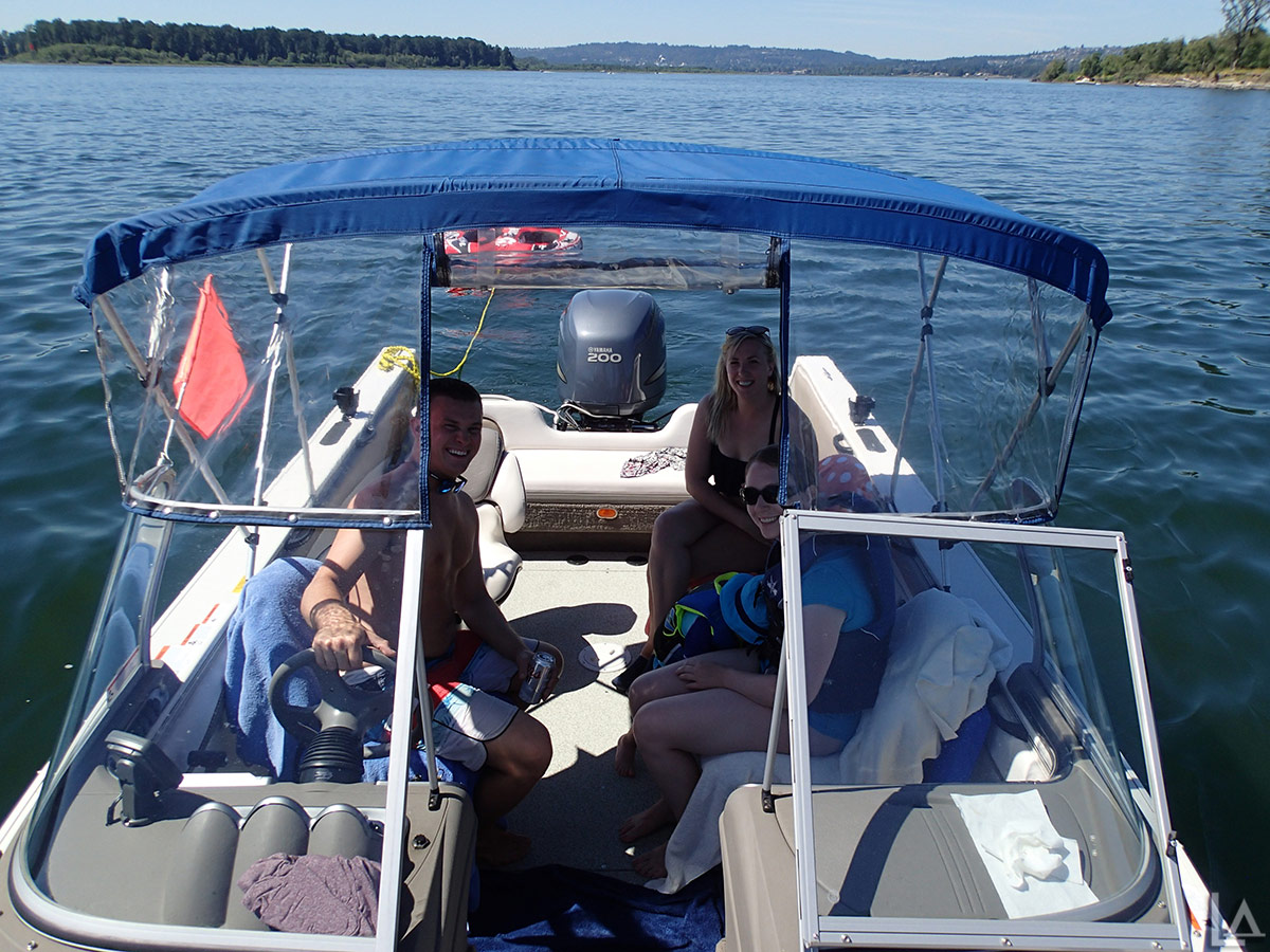 Jordan, Melanie, Julian, and Katie relaxing in our boat