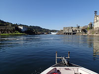 Willamette Falls from the bow of our boat