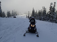 Kevin ready to snowmobile from Bennett Pass Sno Park