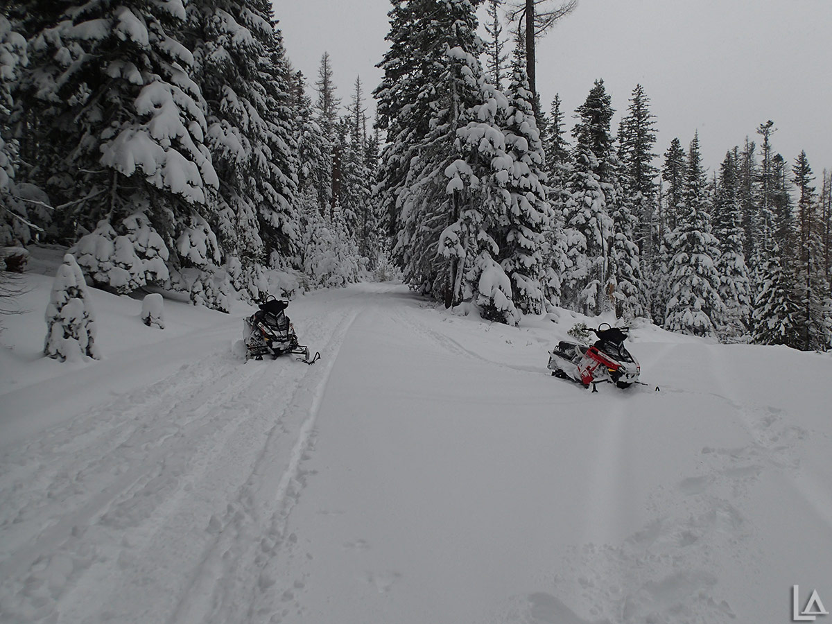 Snowmobiling back from Lookout Mountain