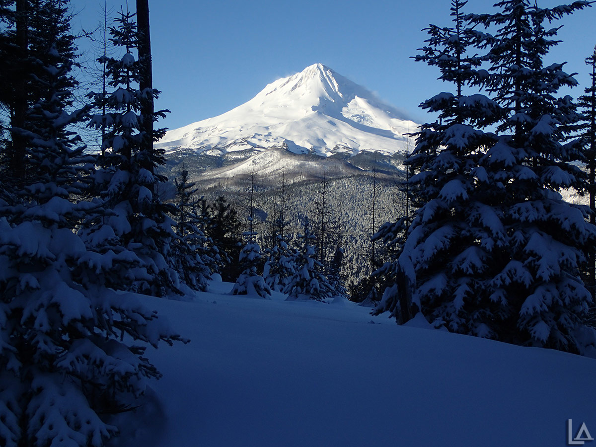Mt Hood covered in snow