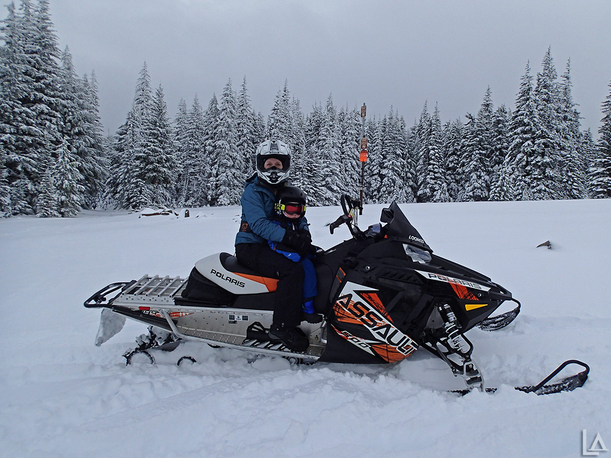Katie and Julian snowmobiling