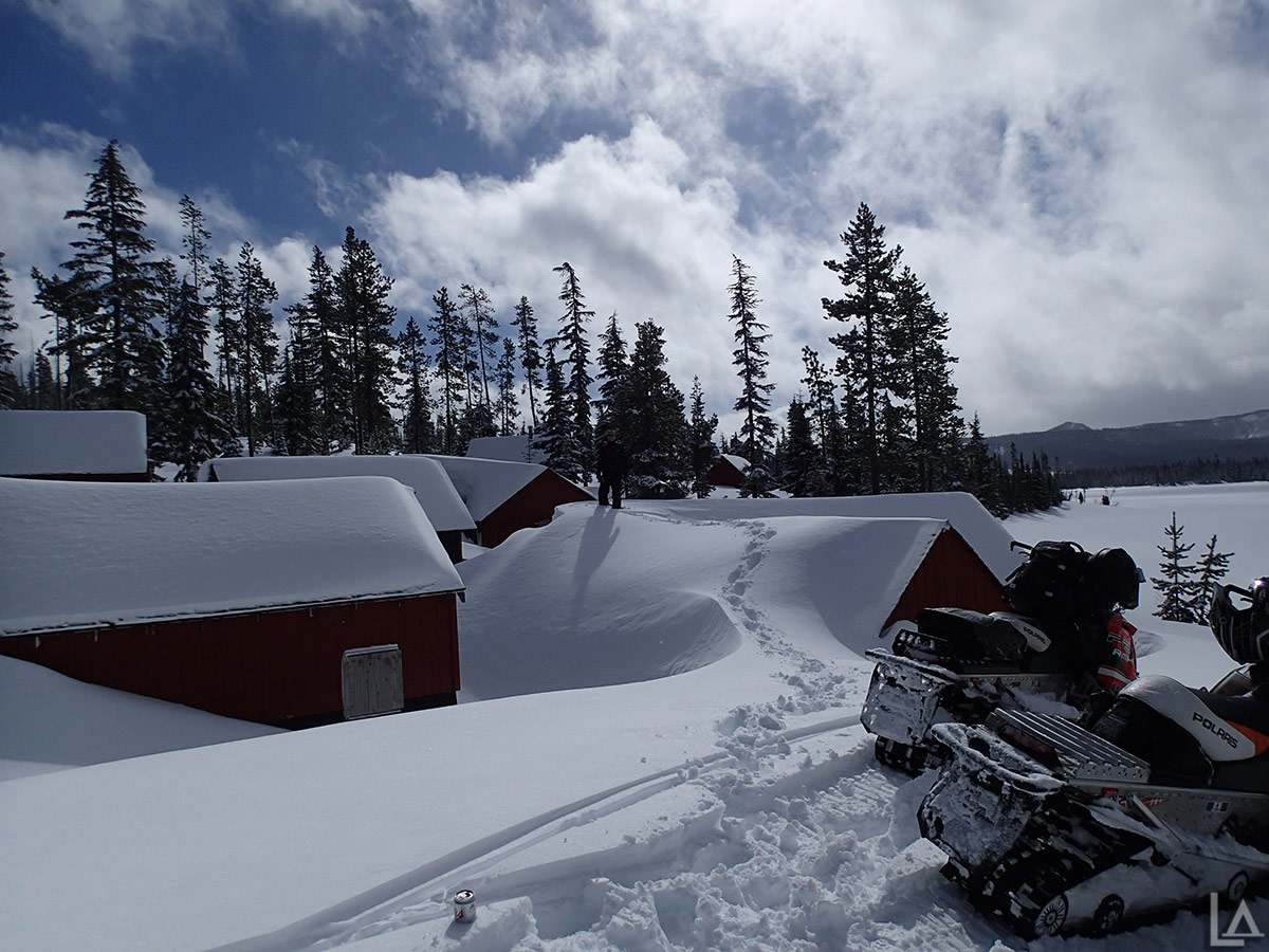 So much snow at Olallie Lake I could walk on the roofs