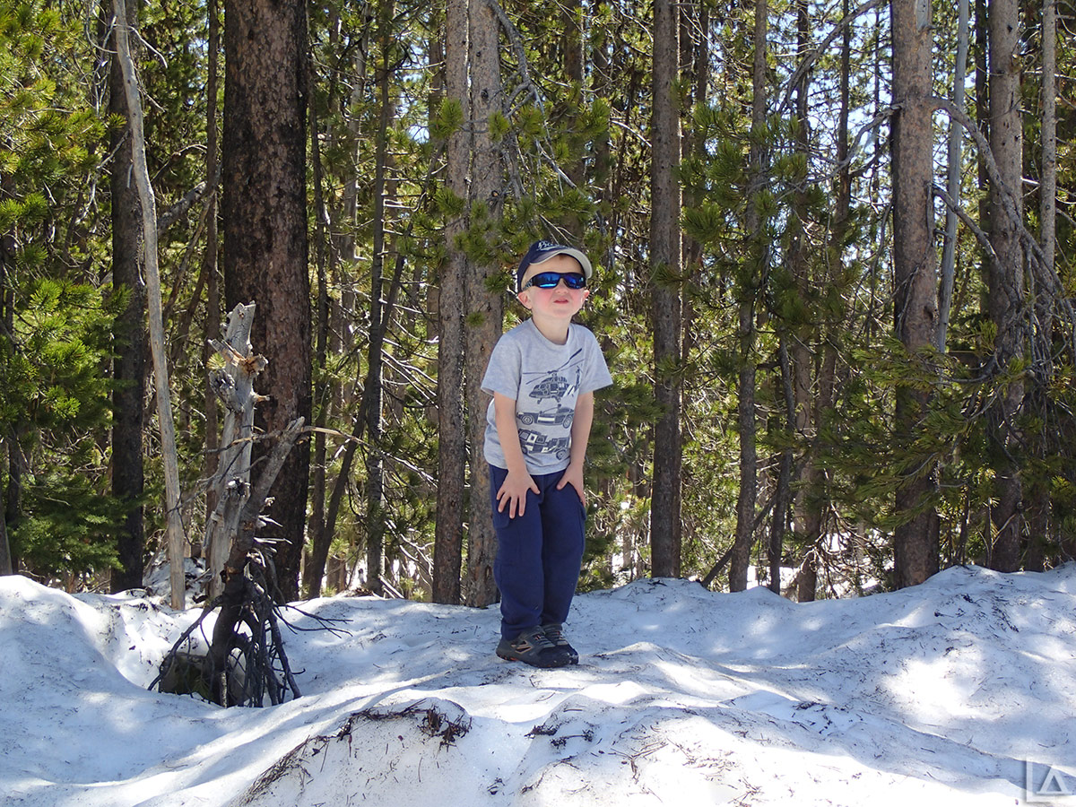 Julian playing in the snow near Elk Lake, Oregon