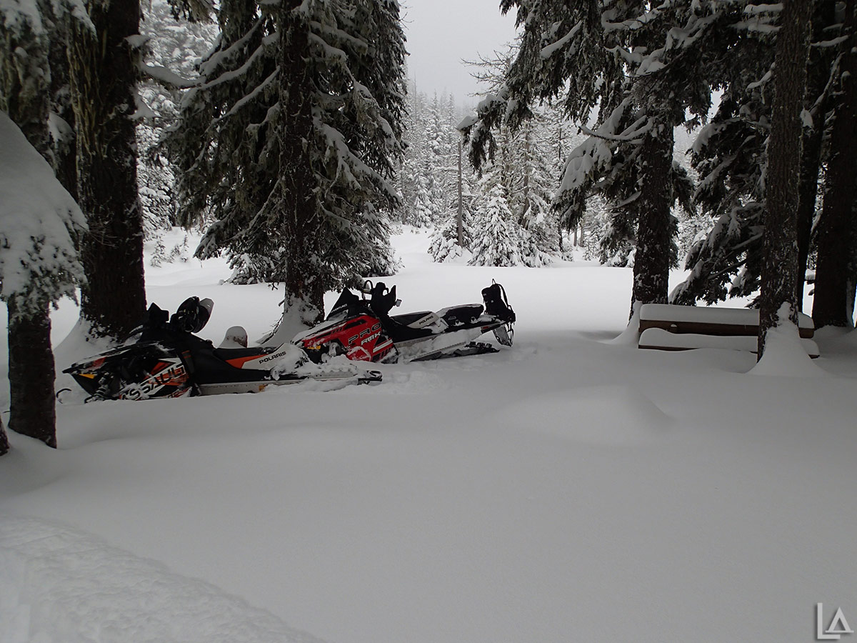 Snowmobiles at Bonney Meadows campground