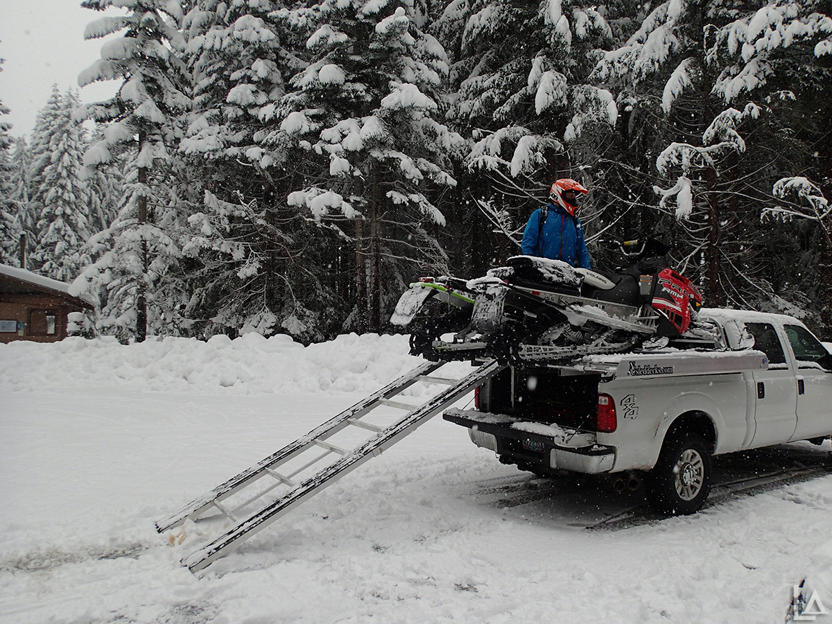 Loading the sleds back on Kevin's new sled deck