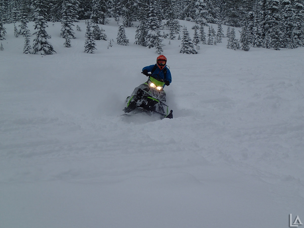 Kevin playing around on his 2018 Arctic Cat snowmobile