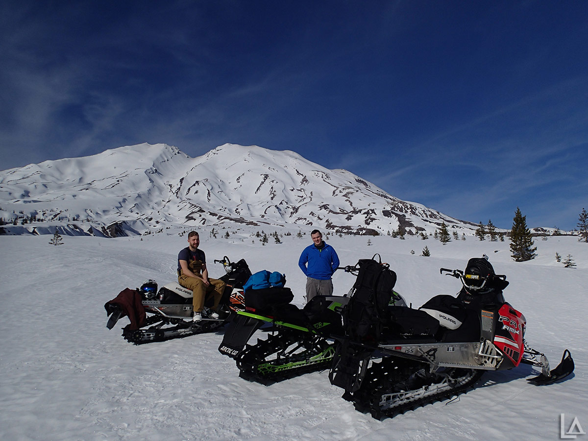 Nick and Kevin snowmobiling at Mt Saint Helens