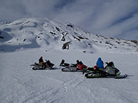 Taking a snowmobile break at the Plains of Abraham on Mt Saint Helens