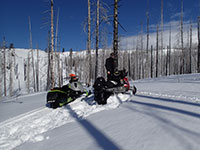 Beautiful day snowmobiling on Mt Adams