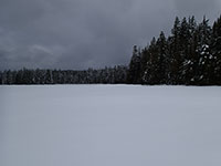 Frying Pan Lake covered in snow