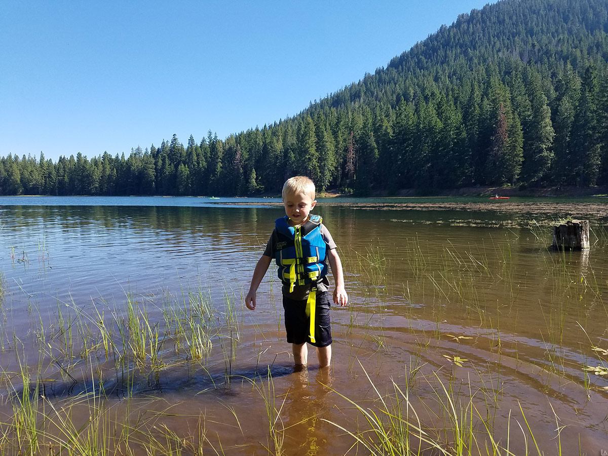 Julian swimming in Juanita Lake